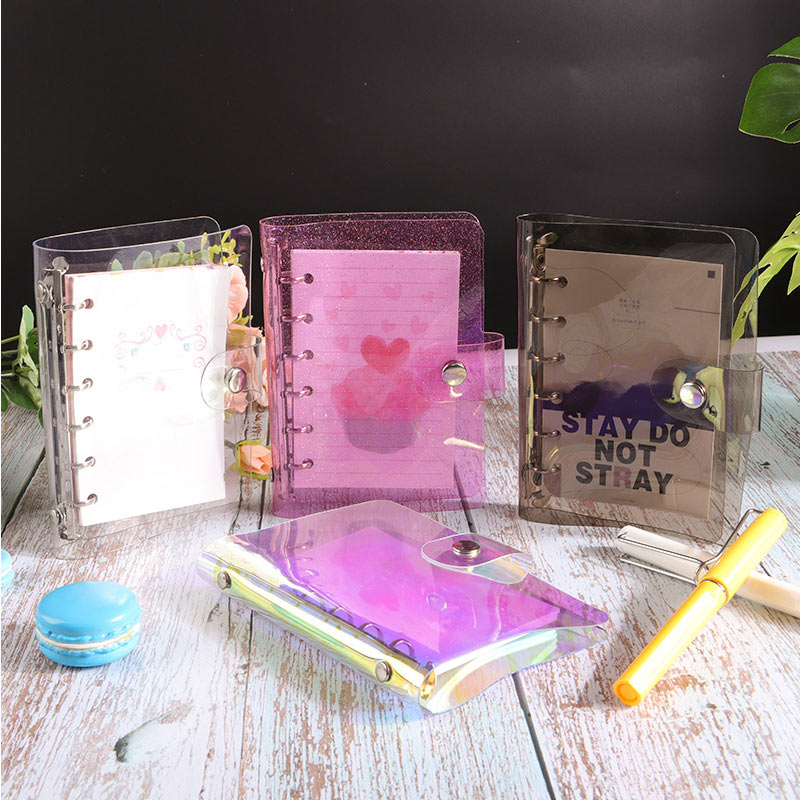 Yiwi A5 A6 A7 Pink Black PVC Creative Laser Binder Loose Notebook Diary Loose Leaf Note Book Planner Office Supplies