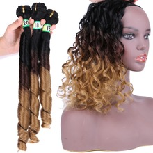 T1B/4/27 Three Tone ombre Spring Curly Hair Bundles 210 Gram one set Brown to Golden Hair Extensions Synthetic Hair Weave