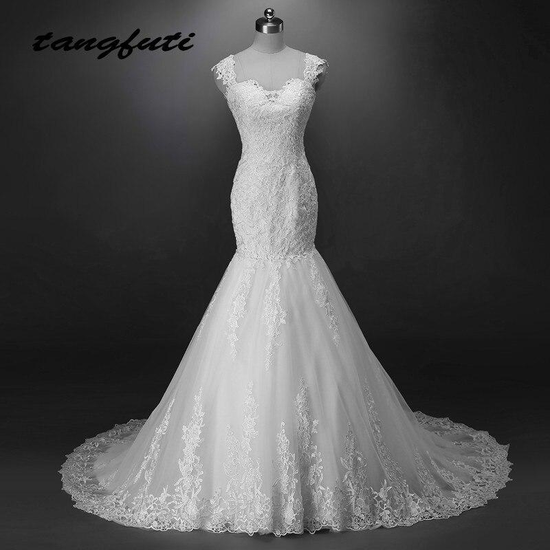 Dentelle De Mariée Sirène Robes Longues 2018 Appliques Tulle Robe De Mariée Chine De Mariée Robes De Mariée Weddingdress robe de mariee