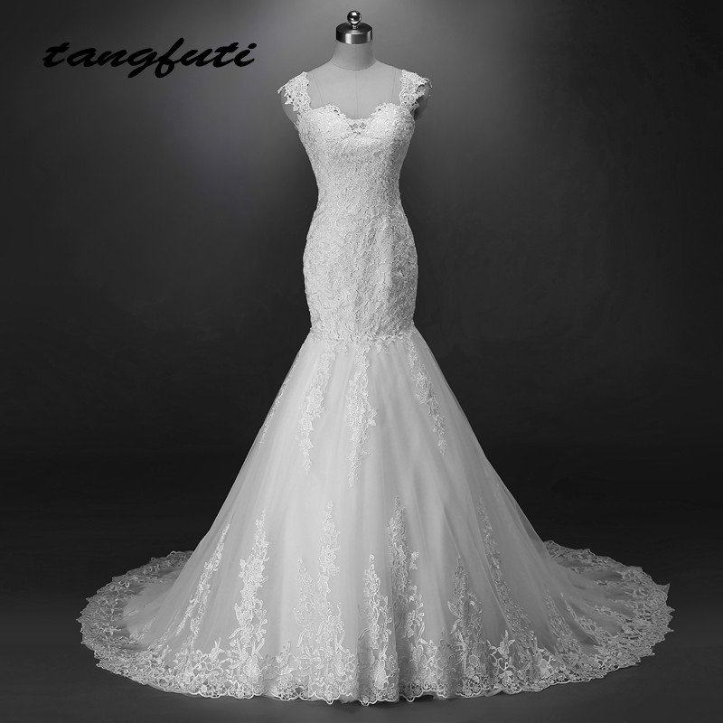 Lace Mermaid Wedding Dresses Long 2018 Appliques Tulle Wedding Dress China Bridal Wedding Gowns Weddingdress robe de mariee