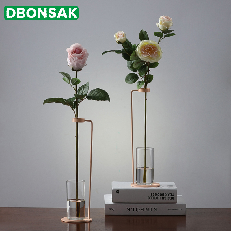 Nordic Style Iron Art Vase Tabletop Flowerpot With Glass Cup Hydroponics Flower Plant Golden White Black Home Wedding Decoration