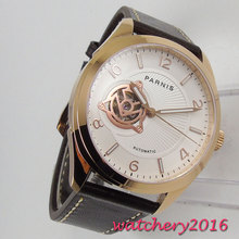 купить 42MM PARNIS 24 jewels Japanese Miyota NH38 Automatic Mechanical watches Rose Golden White dial Sapphire Crystal men's wristwatch по цене 6976 рублей