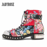 Jady Rose Handsome Rivets Studded Women Ankle Boots Female Autumn Platform Botas Mujer Genuine Leather Lace Up Shoes Woman
