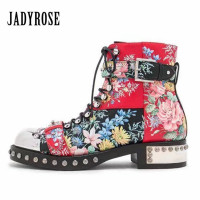 Jady Rose Handsome Rivets Studded Women Ankle Boots Female Autumn Platform Botas Mujer Genuine Leather Lace