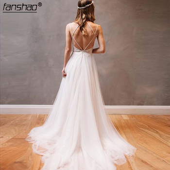 Spaghetti Strap Ivory Tulle Beach Wedding Dresses Rhinestone Backless Bridal Dress Vestido De Noiva