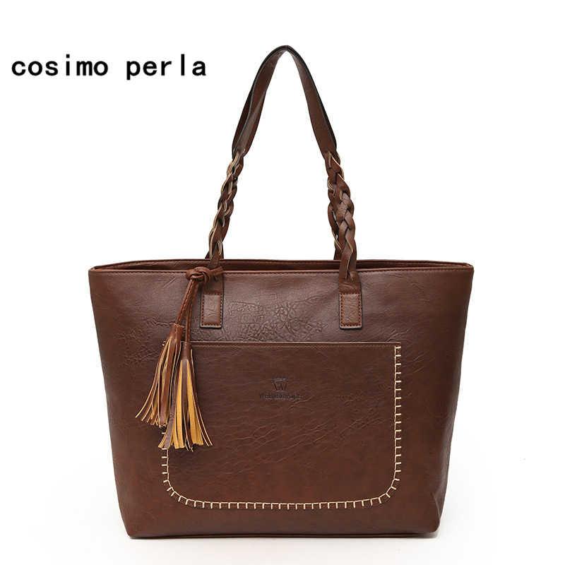 ... PU Leather Handbags Big Women Bag High Quality Fashion Designer Female  Casual Shopping Totes Tassel Shoulder ... 5384a8f50b581