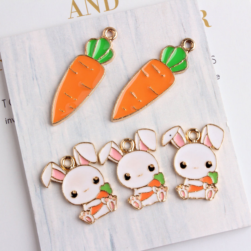 10PCS Cute Rabbit Carrot Enamel Charms Necklace Making Pendant Drop Oil Hare Alloy Floating DIY Earring Jewelry Accessory YZ083