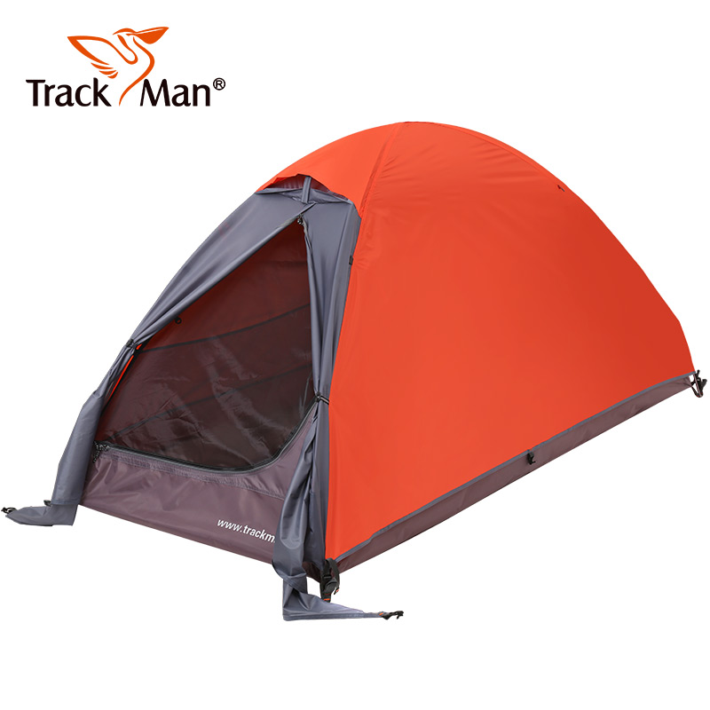 Trackman Camping Tents Double Layers 1 person Tents Waterproof Ultralight Outdoor riding Tents Hiking Aluminum alloy tent high quality outdoor 2 person camping tent double layer aluminum rod ultralight tent with snow skirt oneroad windsnow 2 plus