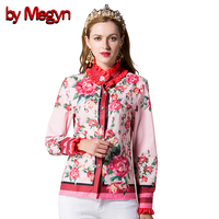 By Megyn 2017 Spring Summer Women Shirts Long Sleeve Female Casual Loose Blouses Floral Print Plus