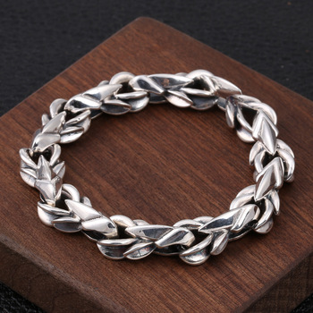 Wholesale S925 Sterling Silver Fashion Jewelry Retro Thai Silver Personality Coarse Paragraph Wild Hipster Men's Bracelet Homme
