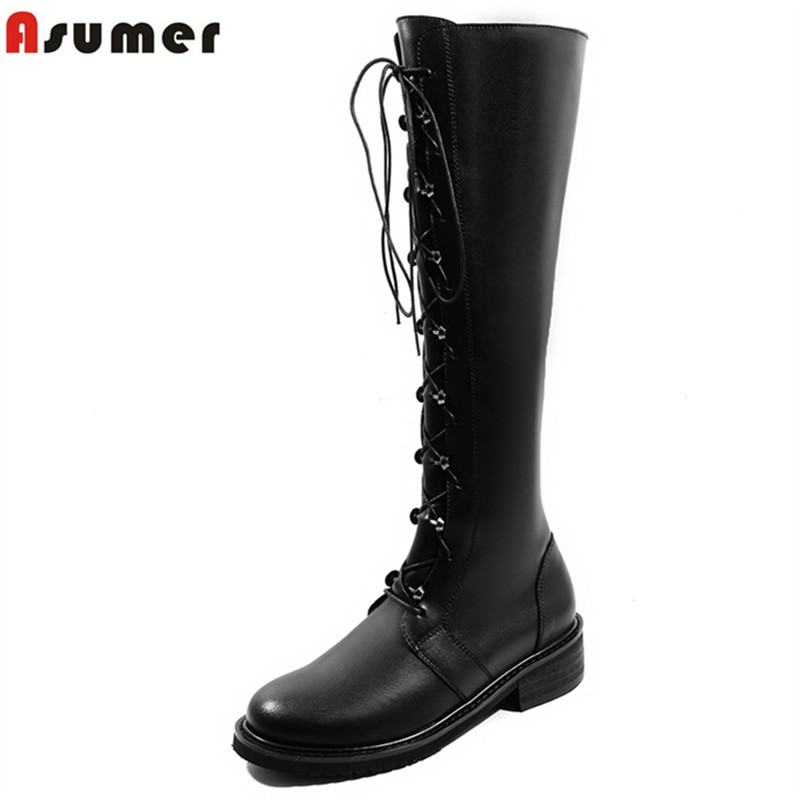 ASUMER big size 34-43 fashion knee high boots round toe med heels zi pu+cow leather boots cross tied autumn winter boots women memunia 2017 new ankle boots med heels solid zipper cow split leather boots winter big size 34 43 women boots