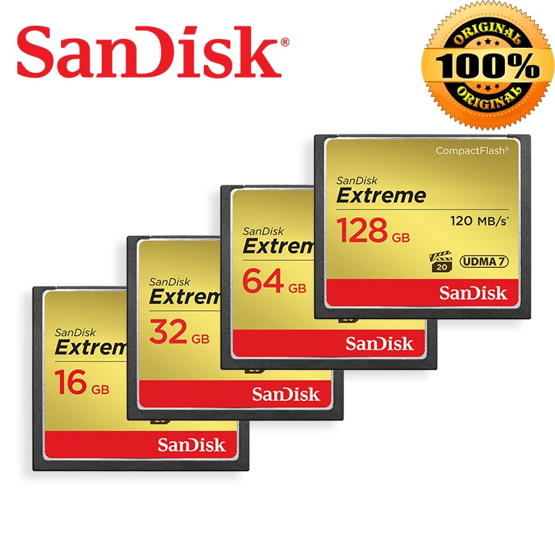 SanDisk Memory Card Extreme CompactFlash 16gb 32GB 64GB 128GB CF Card 800X VPG 20 120MB/s For Rich 4K and Full HD Video SDCFXS