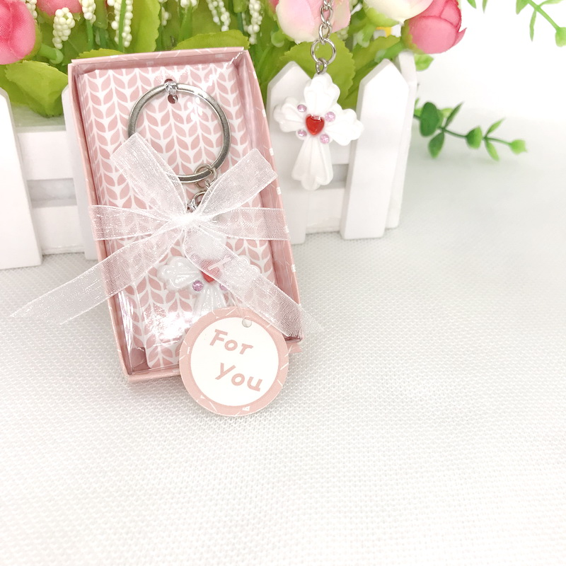 50PCS Baby Christening Party Giveaway Cross Keychain in Gift Box Crucifix Key Chian Wedding Favors