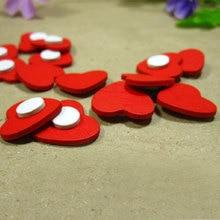 100 pcs/ lot Mini Wooden Red love Heart Sponge stickers Del Fridge/Wall Sticker