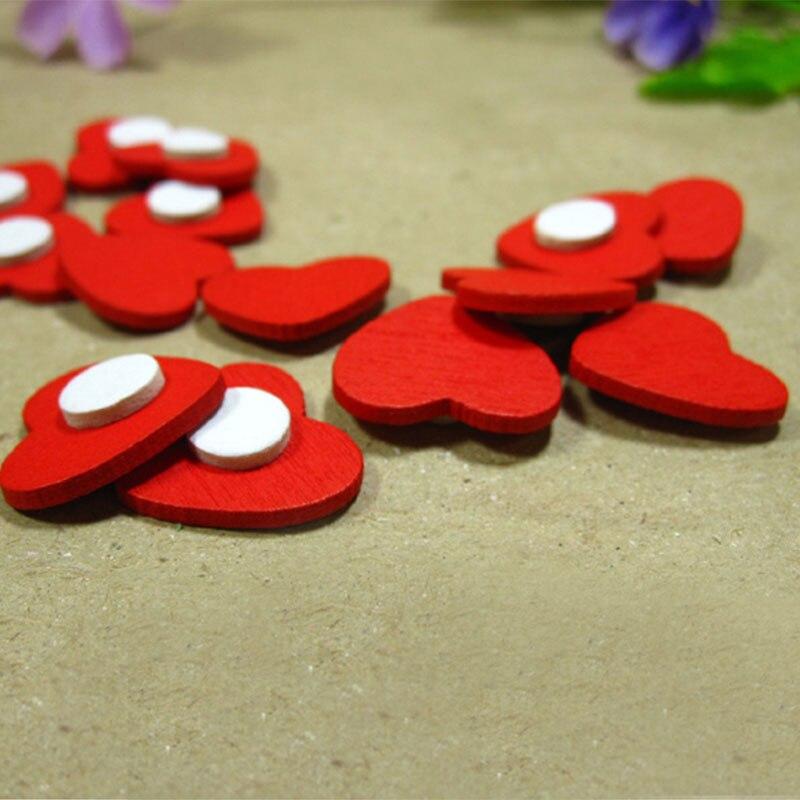 100 pzas/unids/lote Mini pegatinas de esponja de corazón de amor rojo de madera Del refrigerador/pegatina de pared
