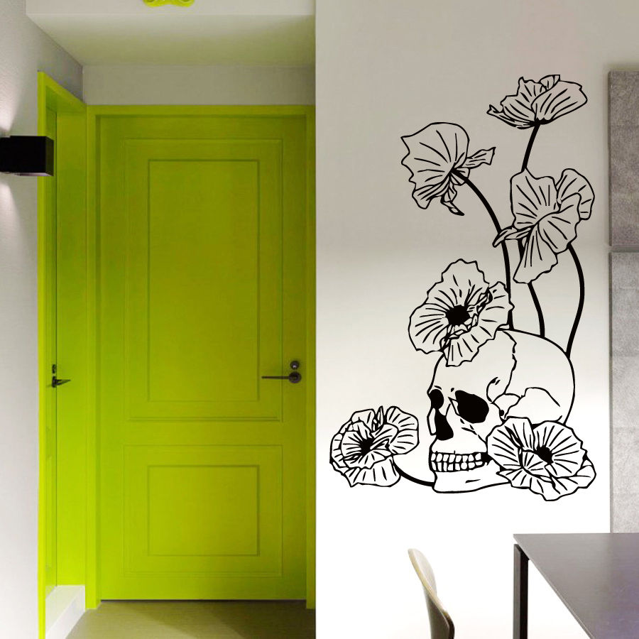 compare prices on wall art poppies online shopping buy low price wall vinyl decal sticker skull poppies dangerous flowers art interior decor wall art mural decoration sticker