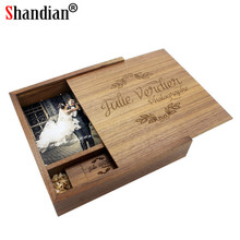 SHANDIAN Free LOGO Walnut Wood Photo Album guitar usb + Box USB 2.0 Memory card Pendrive 8GB 16GB 32GB Photography Wedding gift