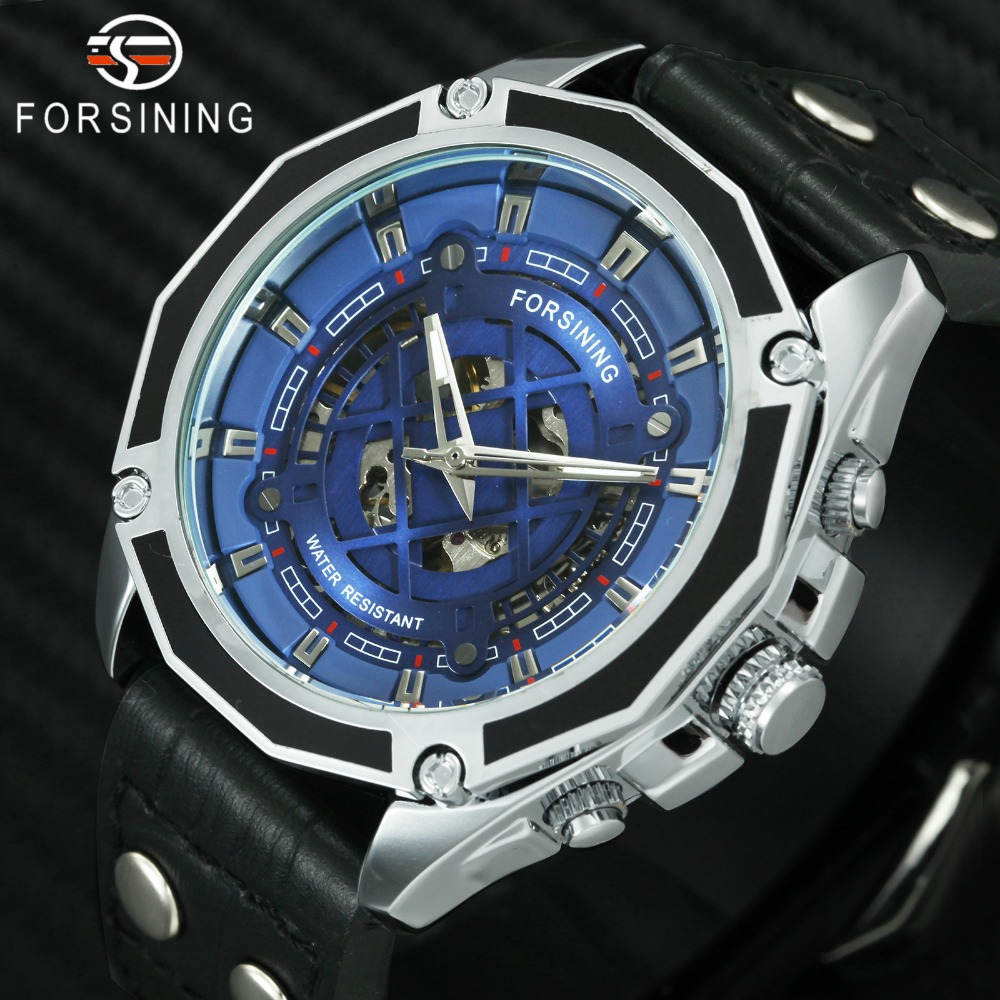 FORSINING 2018 Automatic Mechanical Watch Men 3D Blue Dial Button Nail Genuine Leather Strap Top Brand Luxury Waterproof Watches men button
