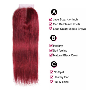Image 4 - 99J/Burgundy Red Color Straight Human Hair Lace Closure 4x4inch Free/Middle Part X TRESS Brazilian Non Remy Swiss Lace Closure