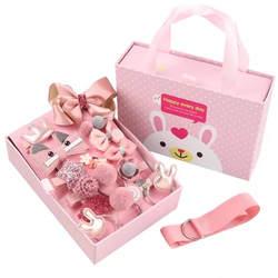 18 шт./Подарочная коробка корейская модная шпилька для волос милый кролик носовой зажим для волос резинки для волос изысканные ткани PU десен