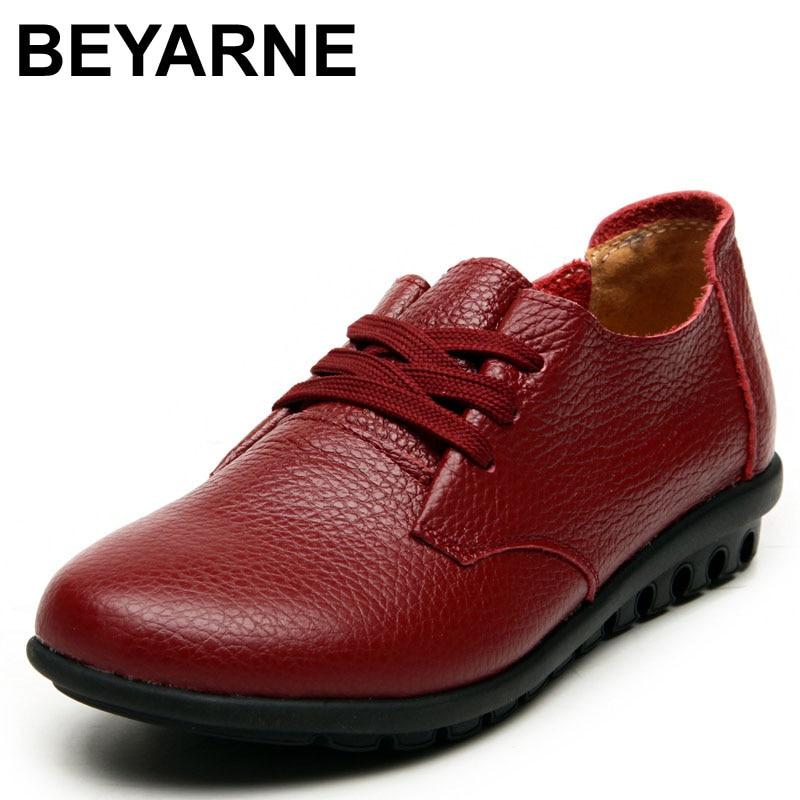 31a2ccb5 BEYARNE New Arrival Wiosennych kobiet Prawdziwej Skóry Koronki Mieszkania  Buty damskie buty w stylu casual Kobiety Mokasyny Pełne Skórzane buty dla  mamy