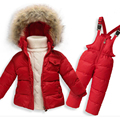 Children Winter Clothing Set Infant Boys Girls Fur Hooded Down Jacket+Bib Pants 2pcs Set Winter Baby Clothes Suit for 1-5Y