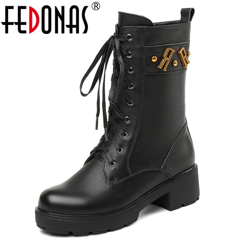 где купить FEDONAS Brand Women Genuine Leather Mid-calf Boots Genuine Leather High Quality High Motorcycle Boots Female Autumn Winter Shoes по лучшей цене