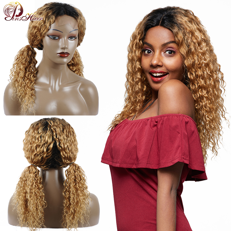 Pinshair Lace Closure Wig Honey Blonde Lace Front Human Hair Wig With 4X4 Closure Ombre T1B/27 Peruvian Water Wave Wigs Non Remy