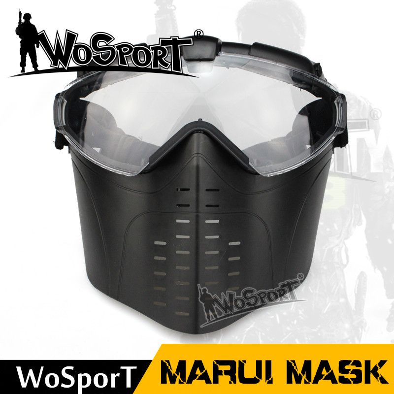 WoSporT Tactical Shooting Face Masks With Fan Ultraviolet-proof Goggle Military Hunting Paintball Big Vision Safety Outdoor Mask