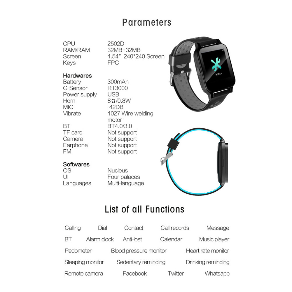 US $21 77 33% OFF|Y60 smart watch plug in card Call watch support sports  record real time heart rate monitoring information call reminder-in Smart
