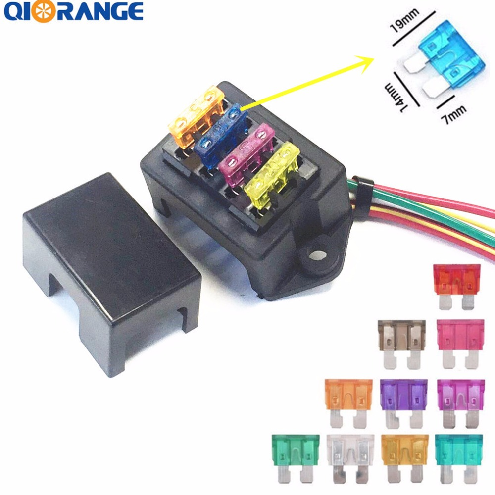 QIORANGE Car Standard Blade Fuse Holder (1~40 AMP) 2-Input 4-Output, ATC ATO 4 Way Fuse Box with Wire +10 Free Blade Fuse 12 gauge atc fuse holder box in line awg wire copper 12v 30a blade standard plug socket pack of 5