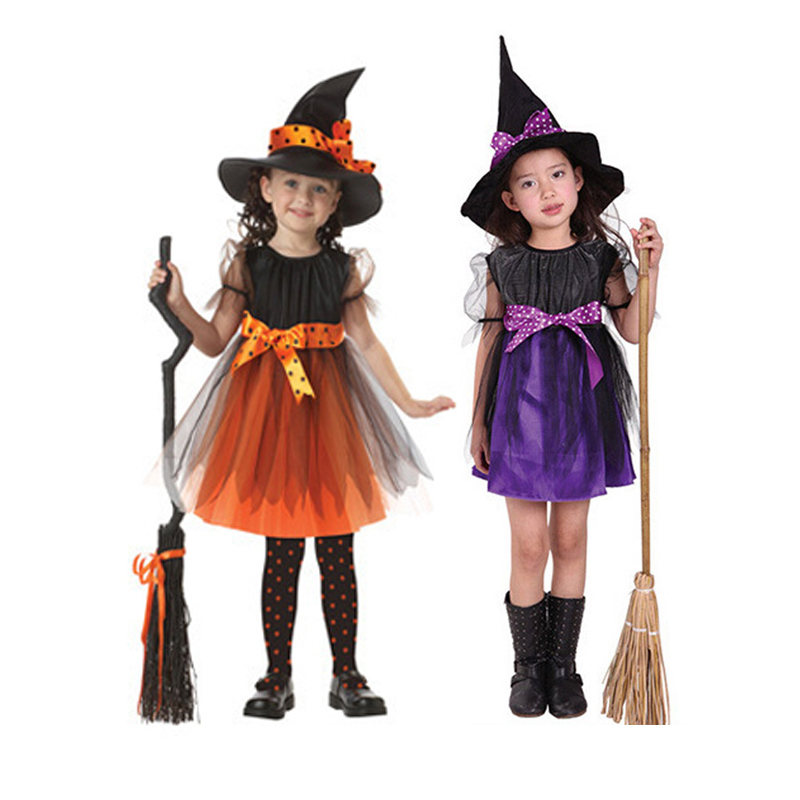 Girls' Dress Witch Dress With Hat Party Costume Halloween Christmas Cosplay Costume  Kids 2018 Summer Dress Party Dress