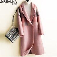 Houndstooth Plaid Patchwork Long Wollen Coat Women Plus Size Woman Wool Coats Winter 2018 Korean Pink Oversized Laides Cape Coat