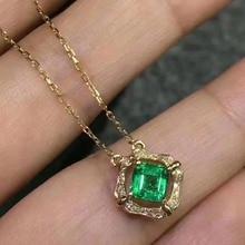 LANZYO 925 sterling silver Emerald Pendants gift for women jewelry emerald Wedding Fine Jewelry Classic style z030306agml