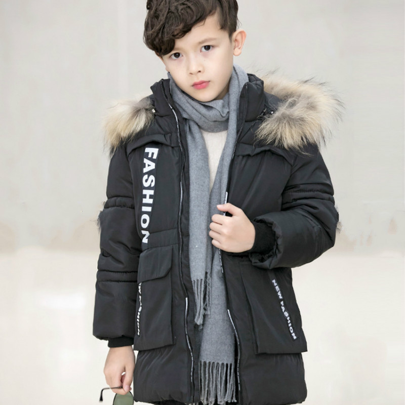 Winter Children's Clothing Student Costume Male Big Dongmao Collar Coat Children Thickened Medium Long Jacket Warm Down Jacket