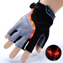 New 2016 Mountain Road Bicycle Bike Gloves GEL Anti-slip Cycling Gloves Anti-shock Half Finger Bicycle Gloves With LED Light