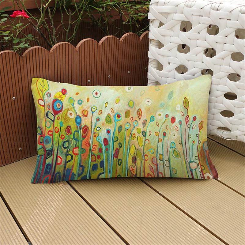 30X50cm European pastoral style Lumbar pillow case cotton linen waist cushion cover sofa chair cub coffee shop home Decoration