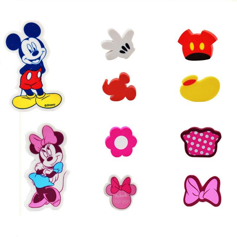 5 Pcs Per Bag Mickey Minnie Cartoon Mini Pencil Eraser Five-Piece Set Disney Student Stationery School Supplies Cute Eraser