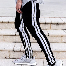 DARK ICON Side Stripe Elastic Waist Slim Fit Mens Pants Full Length 2019 High Street Track Men Black Male