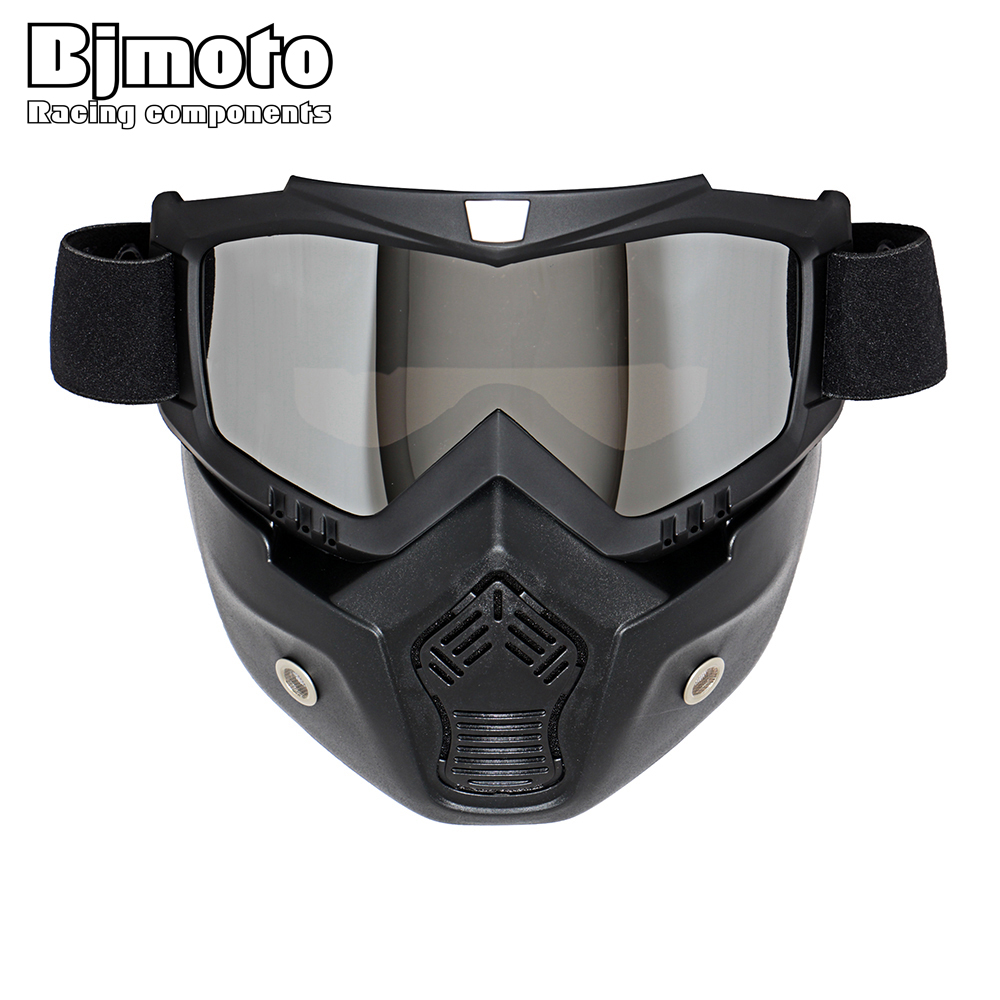 Glasses: Hot Sales Modular Mask Detachable Goggles And Mouth Filter Perfect for Open Face Motorcycle Half Helmet or Vintage Helmets