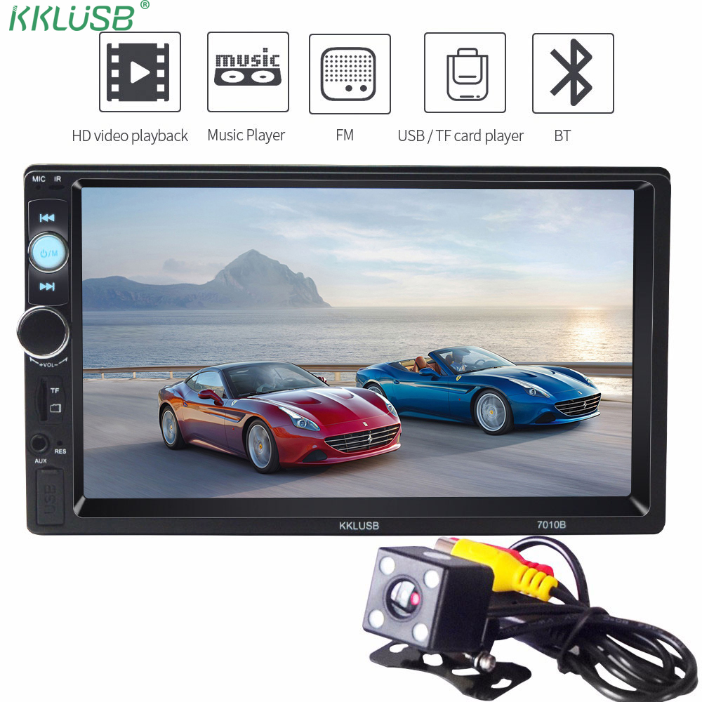 Autoradio 2 Din 7 inch LCD Touch screen car radio MAP3 MP5 player auto audio stereo bluetooth support Rear View Camera 7010B