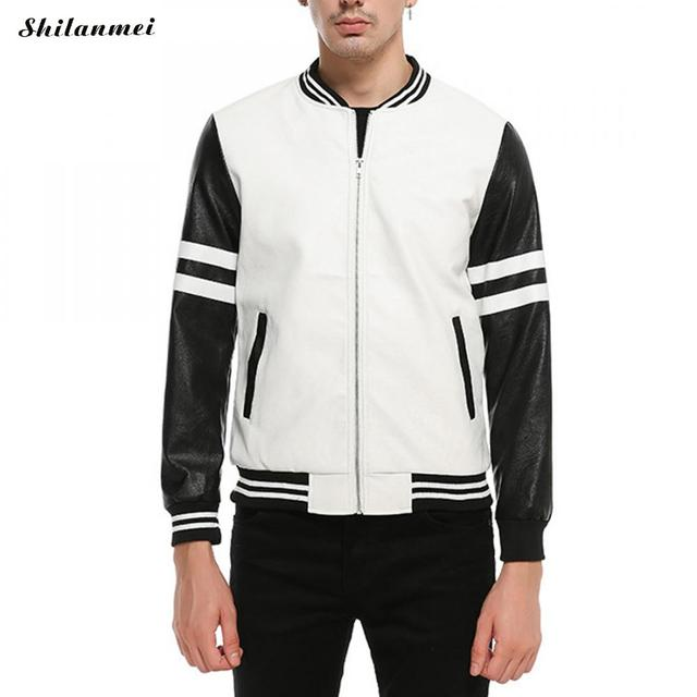 4ad6a332c12 2018 New striped casual Men Bomber Jackets Casual Fashion Plaid PU Leather  Black White Jacket Men Jaquetas