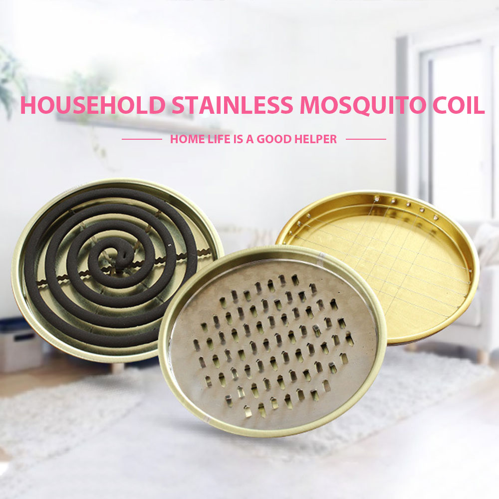 Mosquito Coil Holder Mosquito Coils Tray Repellent Rack With Cover Stainless Repellent Incense Plate Mosquito-repellent Box