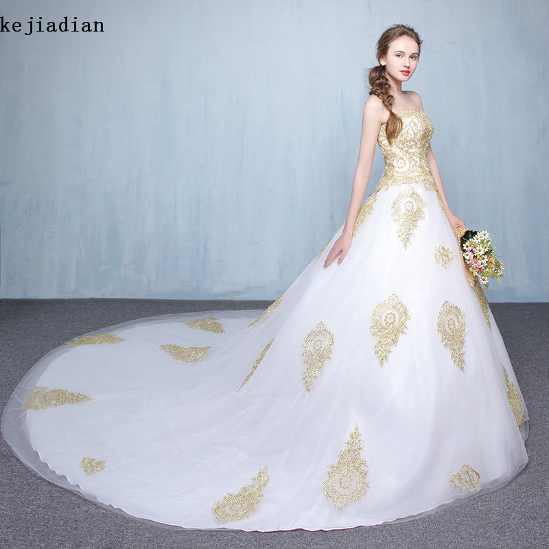 White Wedding Gown Gold: Vintage White Gold Lace Wedding Dress Ball Gown 2017