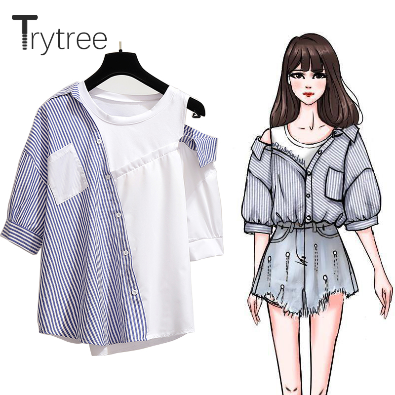 Trytree Summer Women Striped Blouses Casual Polyester Cotton Shirt Half Sleeve Patchwork Pockets O-Neck Office Lady Tops Shirts