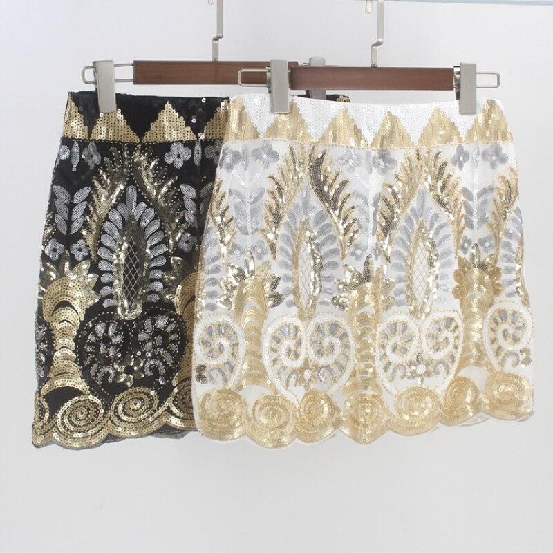 Vintage 1920s Embroidered Floral Beaded Sequin Skirt Elastic Waist Short Saia Lapis Luxurious Women Mini Party Pencil Skirt