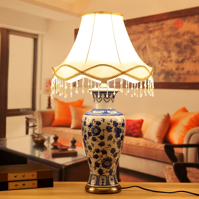 Blue white china antique living room vintage table lamp - Porcelain table lamps for living room ...