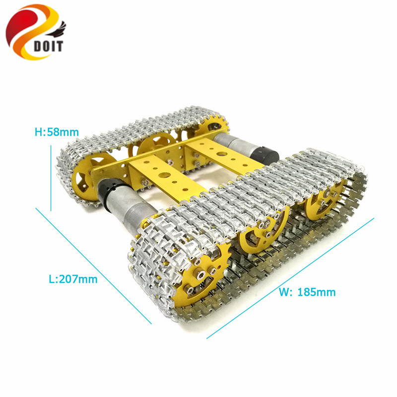 All Metal Tracked Robot Smart Car Platform Aluminum Alloy Chassis with Dual DC 9V Motor for DIY Arduino Robot Project