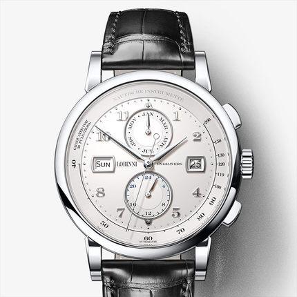 LOBINNI Hommes Vogue Robe 50 m Étanche D'affaires Automatique Montre-Bracelet Mécanique Avec Mois Semaine Date 24 Heure Format- argent