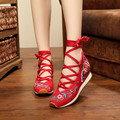 Sunflower embroidery cloth shoes Size(34-40) Red Blue Chinese style national breathable comfortable soft sole Canvas falts